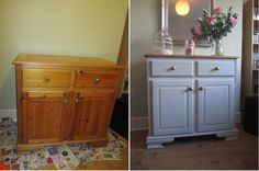 Before and after Upcycling project using Rustoleum Chalky paint in Winter Grey