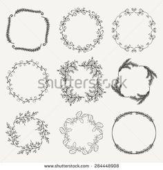Collection of Black Artistic Hand Sketched Floral Decorative Doodle Borders, Frames, Wreaths. Design Elements. Hand Drawn Vector Illustration. Pattern Brushes