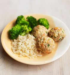 Weaning recipe: If your toddler enjoys feeding him or herself then try these moreish chicken meatballs, made with fresh veggies and chicken thighs. Serve with rice and broccoli for a satisfying dinner