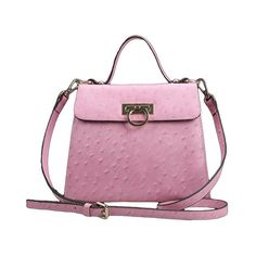 Lixmee ostrich baguatte bag for women (92 CAD) ❤ liked on Polyvore featuring bags, handbags, ostrich purse, pink duffle bag, accessories handbags, pink bag and pink handbags