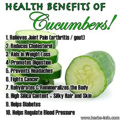 Benefits of Cucumbers Benefits of Food Health Benefits Health Nutrition Detox & Nutrition Natural Cures, Natural Health, Natural Foods, Health And Beauty, Health And Wellness, Health Zone, Cucumber Health Benefits, Avocado Benefits, Sante Bio