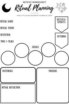 """thelittlesojourner: """" Hello, lovelies! Here's a freebie worksheet for everybody ❤️ I recently started planning my rituals based on how I wanted to appeal to my senses and it's really been working for me! Feel free to use this worksheet as a starting..."""