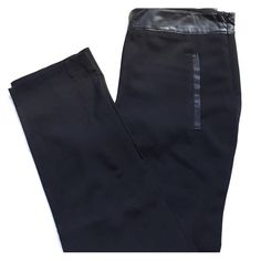 """Forever 21 Dress Pant with Faux Leather Trim. Like new Forever 21 stylish dress pant with faux leather trim at pockets in front and back and at the waist. Seams down front and back. Zips at the hip on the side. Meant to fit around the hips and be loose through the leg (but still tapered, so doesn't look baggy). Ankle length on me (5'5"""" tall). Approx. Measurements (laid flat): 14.5"""" across waist, 18.25"""" at hips, 27.75"""" inseam. Forever 21 Pants Straight Leg"""