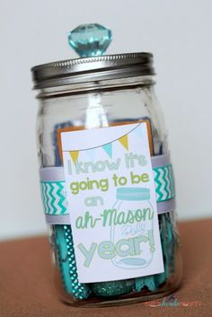 Such a cute teacher gift idea and I already have most these things at home -- I wasn't going to do a teacher gift this year ... but those sparkly clothespins may have changed my mind!
