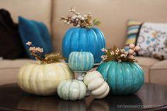 Pretty Fall Pumpkins Tutorial - Super easy DIY - beautiful Autumn Decorations using fun glitter paint!