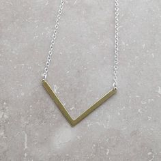 CHEVRON NECKLACE, Personalized Gift, Gift for Women, Giving Back, Everyday Jewelry, Minimalist Necklace, Popular Necklace, Contemporary Jewelry, Good Cause, Celebrity style, Celebrity Style, Gift Wrapping  Contemporary Chevron Necklace  Chevron Size: 22x39.6mm Not plated, it is