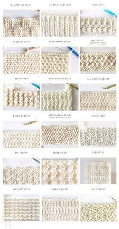 40 free crochet stitches from Daisy Farm Crafts - Salvabrani .- 40 kostenlose Häkelstiche von Daisy Farm Crafts – Salvabrani gestrickt ideen 40 free crochet stitches from Daisy Farm Crafts – Salvabrani, - Crochet Stitches Patterns, Knitting Stitches, Stitch Patterns, Different Crochet Stitches, Amigurumi Patterns, Embroidery Stitches, Ribbon Embroidery, Knitting And Crocheting, Beginner Crochet Patterns