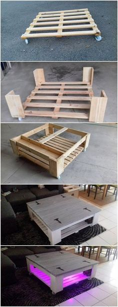 DIY Pallet Table on Wheels #mueblesrecicladospalets