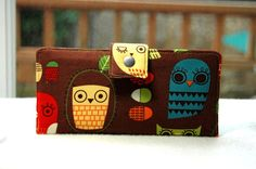 Bi fold wallet handmade clutch owls retro on brown by happykathy