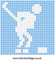 Ice Hockey Fuse Bead Pattern ~ Wonder if I could print these to use for Q- tip art...