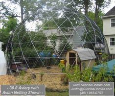 Geodesic Dome Walk in Outdoor Aviary Flight Cage Animal Pen 30 ft Diameter   I want!