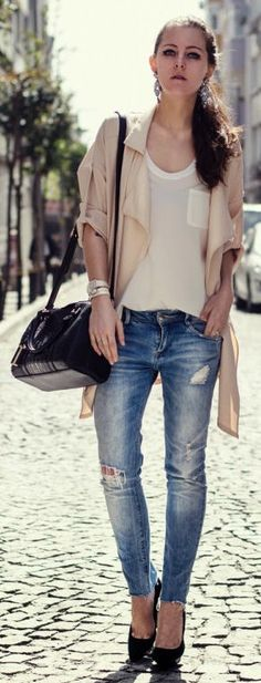 A cool and edgy look topped with creams and neutrals.