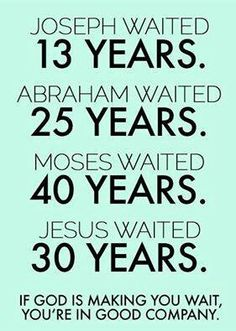 Waiting .........wether its to know our calling, purpose, spiritual gifts, career path or marriage etc.