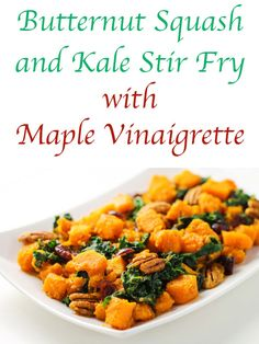 Butternut Squash and Kale Stir Fry with Maple Vinaigrette - Tastefulventure This Butternut Squash aThis Butternut Squash and Kale Stir Fry with Maple Vinaigrette comes together in under 30 minutes, it's one of my favorite fall side dishes to make! Thanksgiving Recipes, Fall Recipes, Top Recipes, Kale Stir Fry, Maple Vinaigrette, How To Cook Kale, Side Dishes Easy, Main Dishes, Vegan Dishes