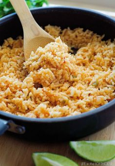 This Mexican Rice is so delicious! It's a perfect side to complement any Mexican inspired dish! (I usually like to serve it with my Honey Lime Chicken Enchiladas) Yum! My little Kallen LOVES this rice. Top Recipes, Side Dish Recipes, Rice Recipes, Mexican Food Recipes, Dinner Recipes, Ethnic Recipes, Recipies, Dinner Ideas, Couscous Recipes