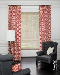 Natural Woven Waterfall Shades in Natural Woven Waterfall Shades and Pinch Pleat Drapery in Interlock/ Berry 16000 #smithandnoble