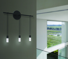 Bar sconce even height luminaire - Luminaires in an even line are suspended from a horizontal Power Bar.