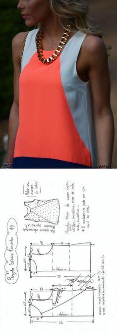 Blusa Regata simples com recorte | DIY - molde, corte e costura - Marlene Mukai