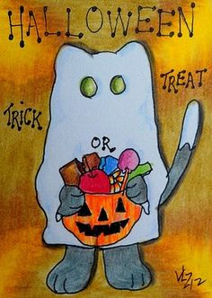 TRICK OR TREAT KITTY ACEO ON EBAY