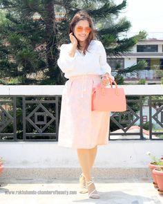 Ruffled Blouse, Midi skirt- OOTD | Summer fashion trends#fashionblogger #indianfashionblogger #howtostylemidiskirt