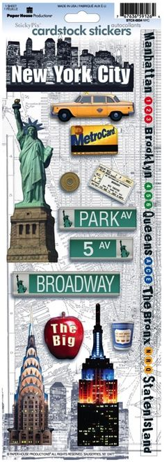 New York Cardstock Scrapbooking Stickers New York Taxi, New York City, New York Scrapbooking, City O, Planner Sheets, Scrapbook Stickers, The Help, Card Stock, Craft Projects