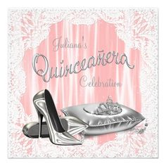 Quinceanera Invitations Princess Coral and Gray Quinceanera Card