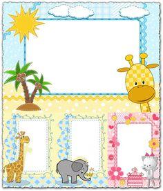 Cartoon frames with baby animals vectors