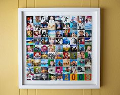 Frame a photo collage of your favorite photos. There's a link to a free template to make your collage.