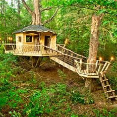 To The Next Level - The only thing that could make having a treehouse even better is getting to build it with your dad, like TOH reader Matt Pavel did here. This multi-level treehouse makes climbing up into the outdoor hangout feel a little like an Indiana Jones movie, without the life-threatening boulders.