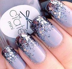 Lavender nails with purple glitter ombré style