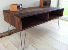 Mid century modern TV table/entertainment console, black walnut with hairpin legs. on Etsy, $690.28 CAD