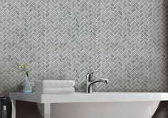 """Sold per tile. For Wall Use Only. 1 Tile = 0.92 Sq Ft Bianco Carrara marble mosaic tile in mini brick herringbone pattern. Chip Size: 1""""x2"""" rectangles. Tile Size: 12 x 11 in., 4 mm thick. Polished finish. Bianco Carrara is a gray Italian marble with distinctive thin black veining. Contemporary / classic kitchen backsplash, bathroom accent wall, accent niche, border tile, tub surround. Bathroom Accent Wall, Bathroom Accents, Bathroom Flooring, Mosaic Wall Tiles, Marble Mosaic, Carrara Marble, Herringbone Backsplash, Herringbone Pattern, Marble Polishing"""