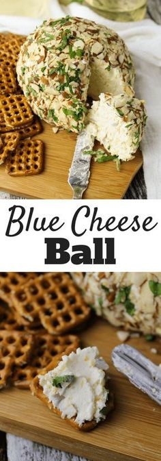 #ad Blue Cheese Ball is made with cream cheese, cheddar, parsley, almonds, shallots and #Salemville Amish Blue Cheese Crumbles for the go-to holiday appetizer. @SalemvilleBlue