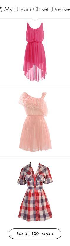 """2) My Dream Closet (Dresses)"" by iamharryskitty ❤ liked on Polyvore featuring dresses, vestidos, short dresses, robe, mini dress, midi cocktail dress, asymmetrical cocktail dress, short chiffon dress, pink chiffon dress and pink"