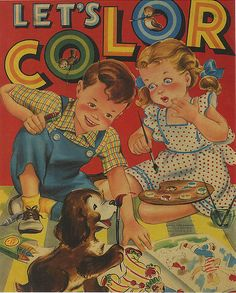 1940 Coloring Book. Absolutely loved getting a new color book, and a bonus was also a new box of crayons.