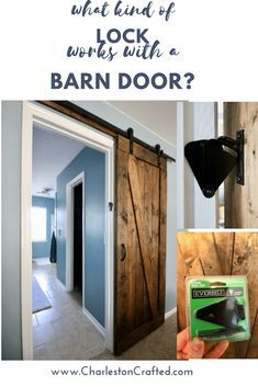 What kind of lock works with a barn door? If you're looking to add a barn door lock to your sliding barn door, we've got you. A barn door lock is the perfect way to get privacy with your bathroom rustic barn door. Here's how to lock a barn door! Bathroom Door Locks, Bathroom Barn Door, Barn Door Closet, Diy Barn Door, Diy Door, Downstairs Bathroom, Sliding Glass Barn Doors, Double Barn Doors, Sliding Barn Door Hardware
