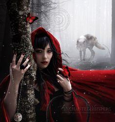 """Der Wolf taucht im Hintergrund auf, etwas gespenstischer/schattenhafter  ( """"Little #Red,"""" by EnchantedWhispers, at deviantART.)"""