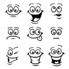 TobyBridson Stock Image and Video Portfolio - iStock Cartoon Faces Expressions, Funny Cartoon Faces, Drawing Cartoon Faces, Cartoon Expression, Eye Expressions, Cartoon Eyes, Cartoon Art, Easy Doodle Art, Simple Doodles
