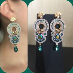 A personal favorite from my Etsy shop https://www.etsy.com/listing/554899001/swarovski-soutache-earrings-gold-plated