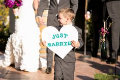 """back of our """"here comes the bride"""" sign"""