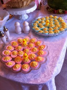 Pink & blue deviled eggs for baby shower!