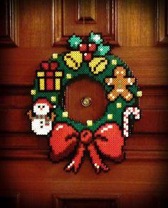 Christmas wreath hama perler beads by Garrosa on deviantART....I love this idea! :3