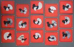 Karjalan käki:  Työvaiheet: Piirä valkealle A4 kokoiselle paperille ympyrä ja jaa se haluamallasi tavalla alueiksi. Täytä alueet zentangle-kuvioilla. Piirrä ja leikaa linnun vartalo mustasta paperista. Leikka ympyrästä noin puolet pystöksi ja palanen siiveksi. Yhdistä lintu, pystö ja siipi puikkoliimalla yhteen. Leikkaa A3 kokoisesta paperista neliön muotoinen taustapaperi ja liima lintu sen keskelle. Piirrä kehykset viivottimen avulla ja täytä ne myös jollain zentangle-kuviolla.