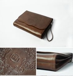 Brown Leather  Designer Clutch Leather Bag Large by KiliDesign, $320.00