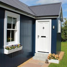 Small Blue Cottage | White Door | Flowers | Wee House