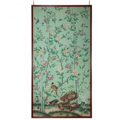Chinese export wallpaper panel with flowers and birds on a green ground. Chinese c.1820