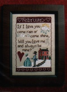 Monthly Sampler Series: February - Cross Stitch Pattern
