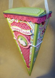 Annette's Creative Journey using Close to My Heart Chantilly papers - cute way to make a cone, love the zipper touch, March 2013