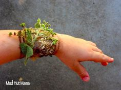 create a nature bracelet using packing tape (sticky side out) and adding things you find on a nature walk. Good for toddlers, preschool kids.