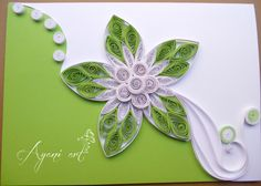 green and white card the quilled flower design separating it into green and white sections...